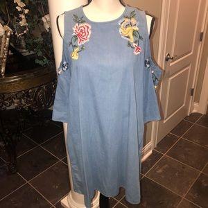 Zara denim/ sequin cold- shouldered day dress